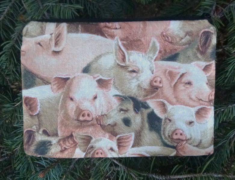 Pigs zippered accessory bag makeup