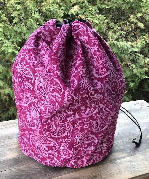 Pink batik large project bag for knitting or crochet blankets and afghans