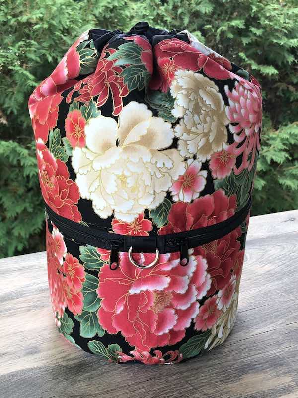 Red Peonies knitting project bag, large Kipster