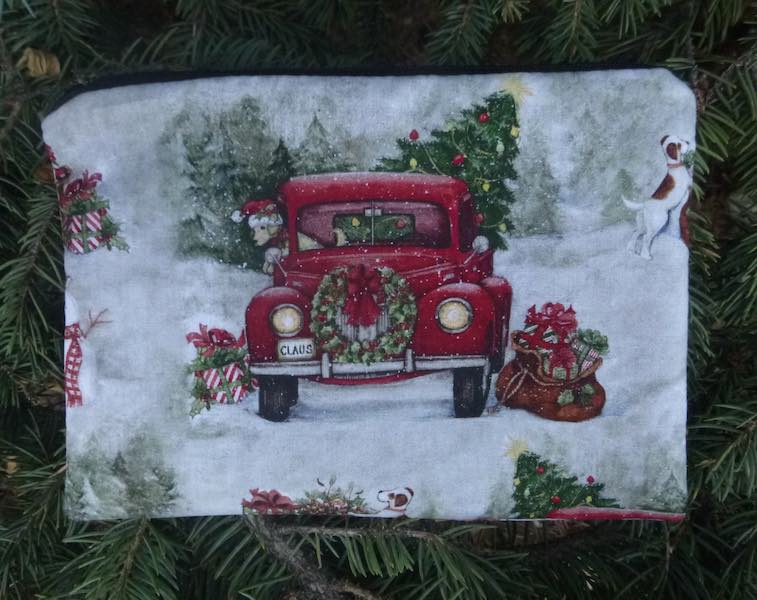 Red Truck decorated for Christmas zippered bag