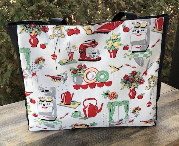 Michael Miller retro kitchen tote bag