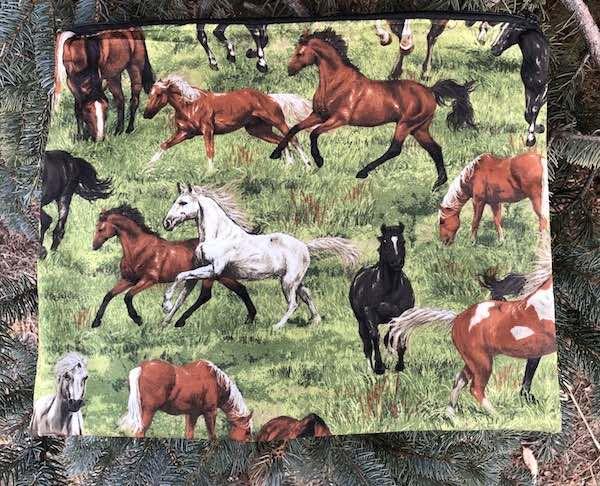 Running horses large zippered portfolio