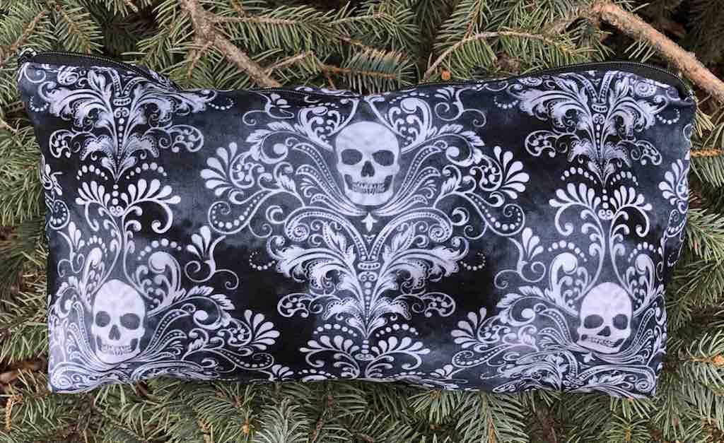 Skull damask flat bottom bag for mahjong tiles, knitting or craft projects