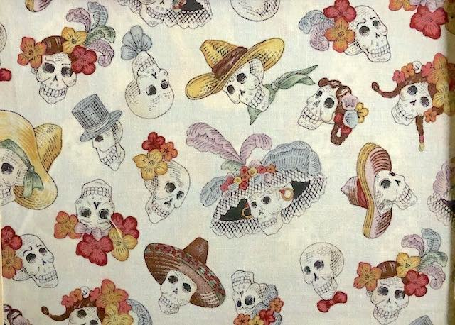 Skulls in hats Day of the Dead adjustable face mask