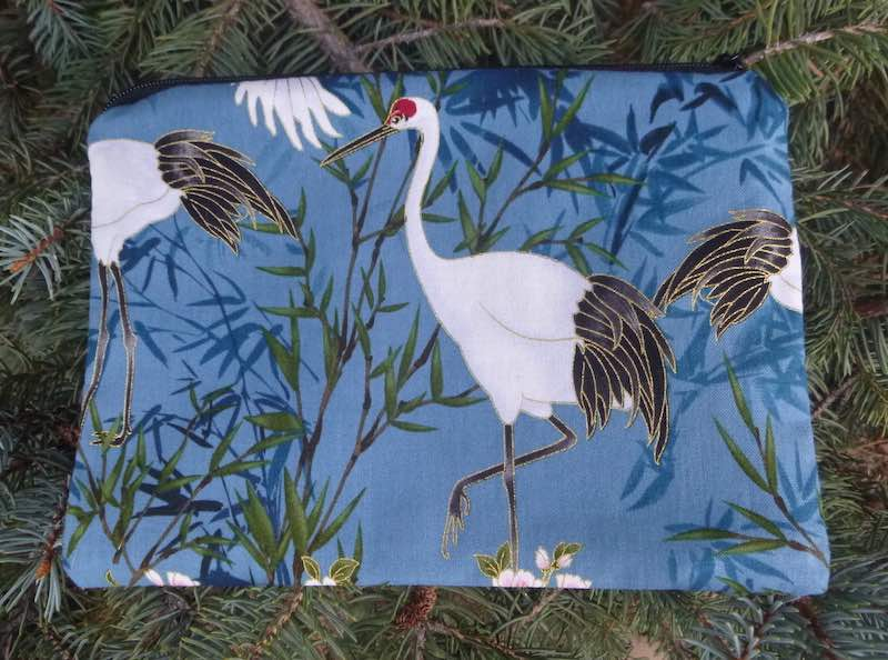 Japanese cranes makeup accessory bag phone charger pouch