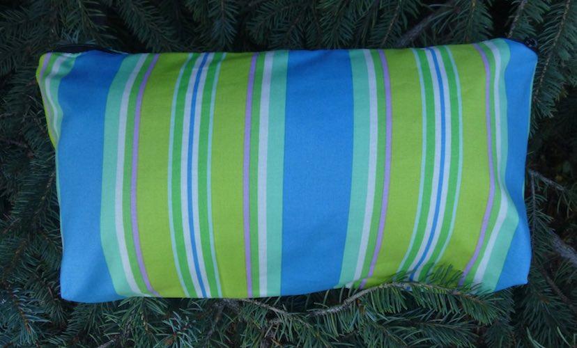 blue and green stripe flat bottom bag for mahjong tiles cosmetics art supplies