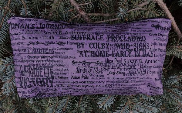 Suffragettes names flat bottom bag for mahjong tiles or knitting