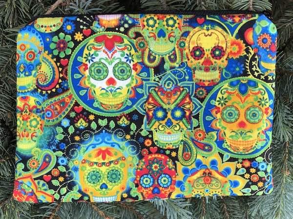 Sugar skulls carnavale zippered makeup bag