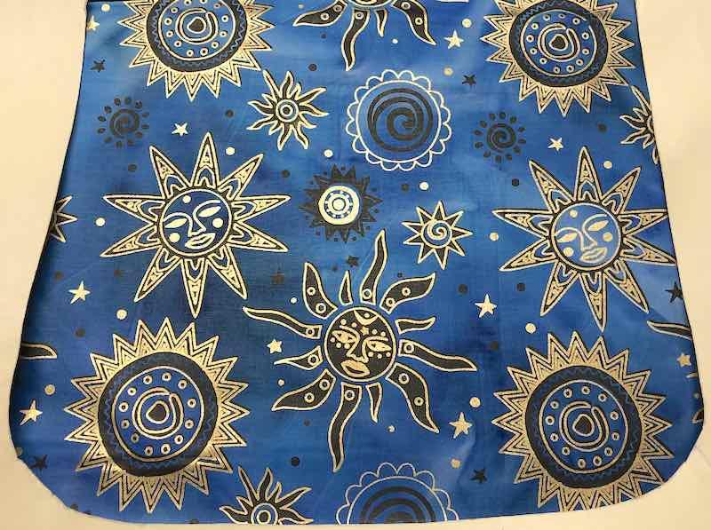 Suns on blue batik removable flap for a messenger bag