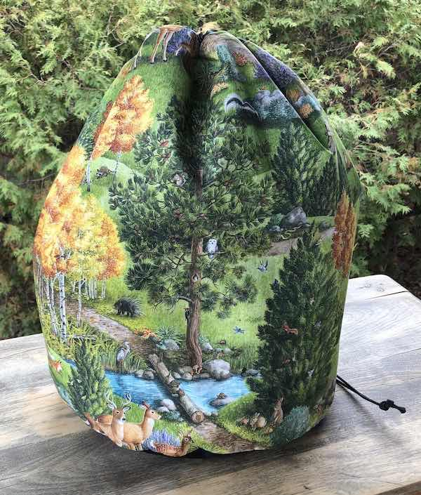 Forest animals large project bag for knitting or crochet blankets and afghans