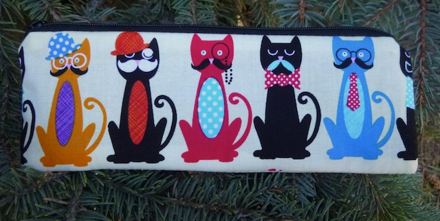 cats with a mustache pencil case