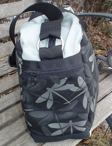zippered pocket on a shoulder bag