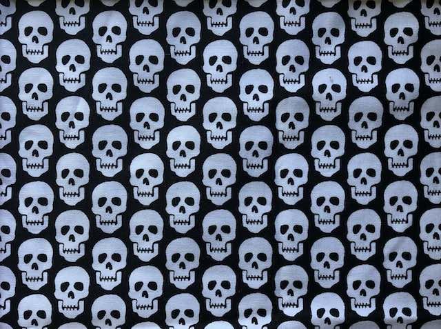 White skulls on black adjustable face mask Zoe's Bag Boutique