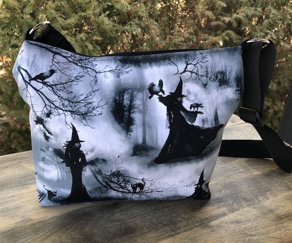 Witches and familiars zippered crossbody purse with pockets