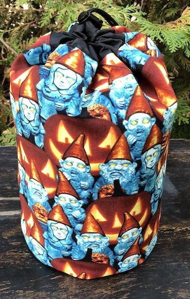 Zombie Gnomes glow in the dark drawstring bag for knitting, crochet, Rummikub, Scrabble tiles
