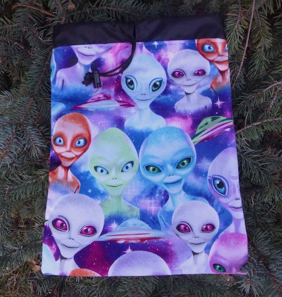 Aliens flat drawstring bag for rummikub tiles brushes travel toiletries