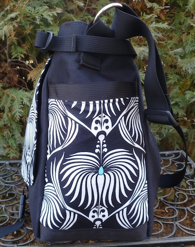 black and white art nouveau messenger bag