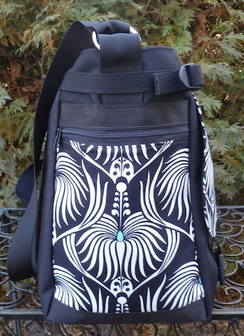 black and white art nouveau weekender bag with laptop sleeve