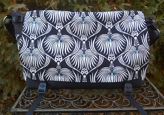 black and white art nouveau messenger bag with laptop sleeve