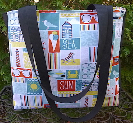 Beach knitting tote with long handles