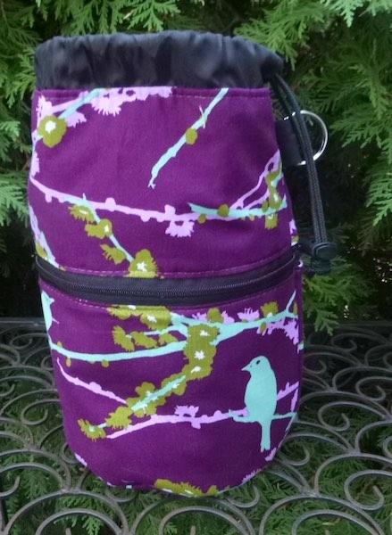 birds on purple work in progress bag