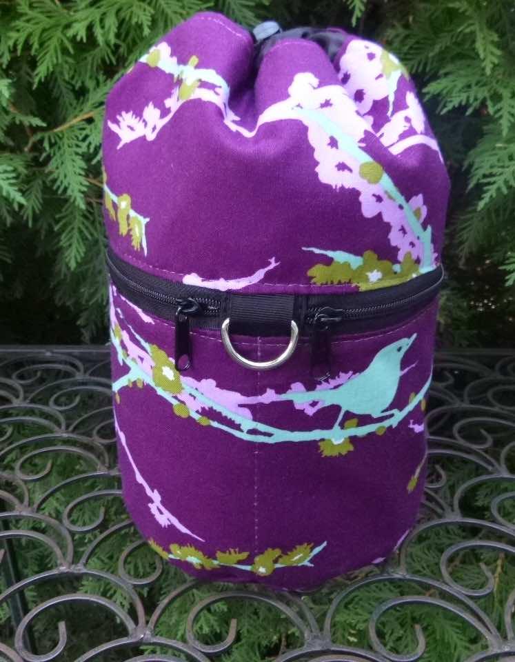 birds on purple knitting bag