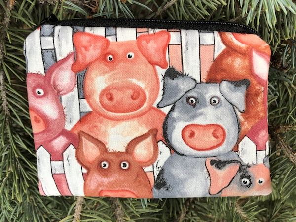 cute pigs zippered coin purse, reusable gift bag