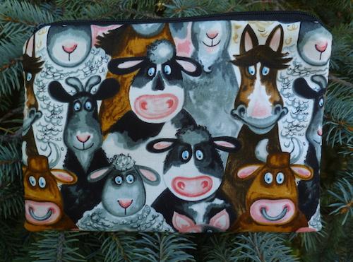 cute farm animals zippered bag