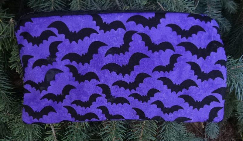 bats on purple pencil case
