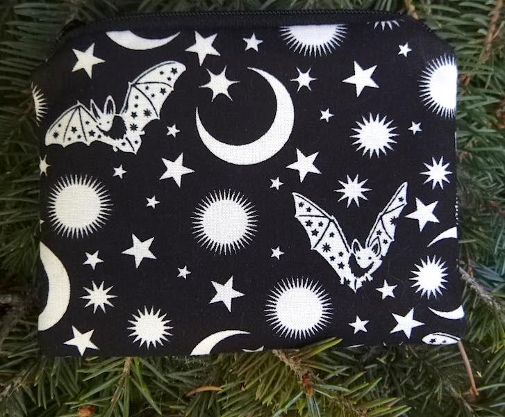bats and moons coin purse, Halloween coin purse