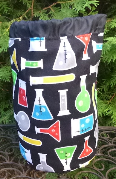 science beakers knitting project bag