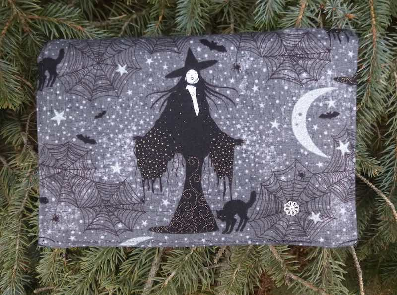 witch and black cat wallet on string