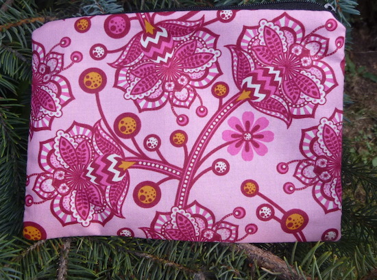 pink flowers and bees makeup bag