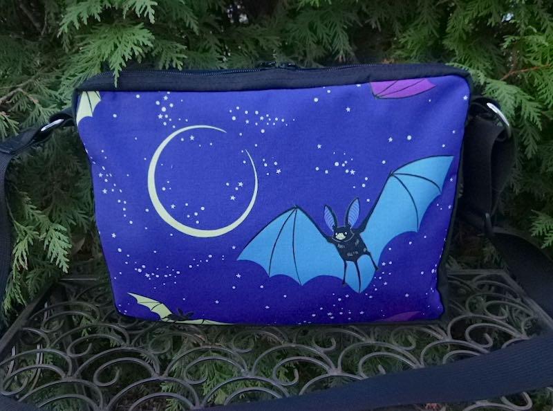 bats and moons zippered shoulder bag