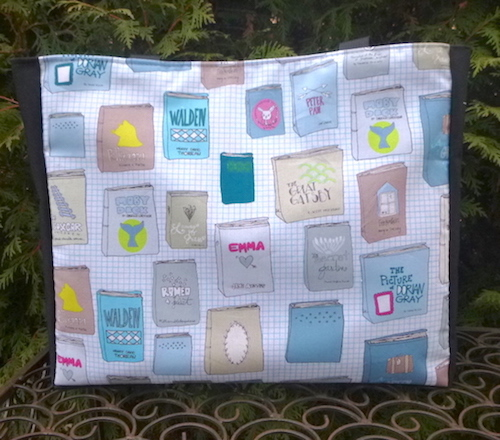 Tote bag with classic books fabric