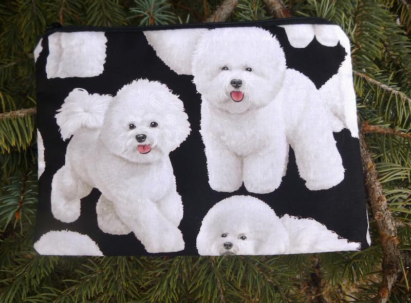 Bichon Frise zippered bag for makeup accessories reusasable gift bag