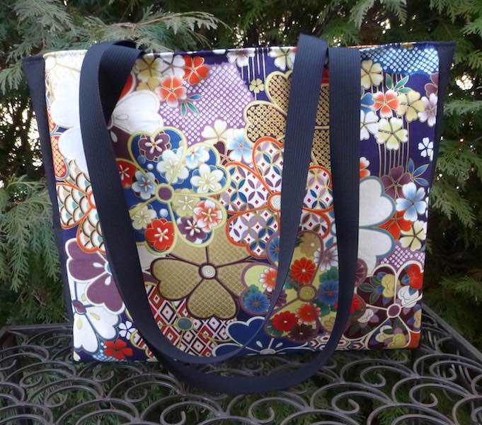 knitting tote with long handles Japanese cherry blossoms