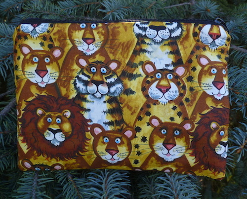 lions tigers and leopards zippered pouch