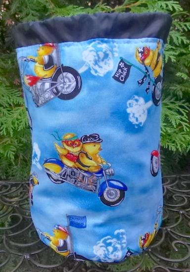 chickens on motor bikes drawstring bag