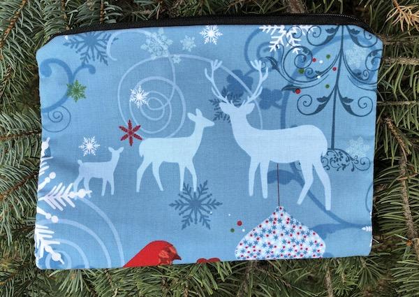 winter Christmas reusable zippered gift bag