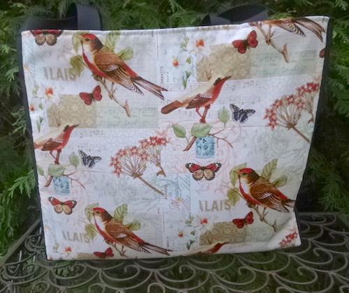 bird tote bag knitting bag