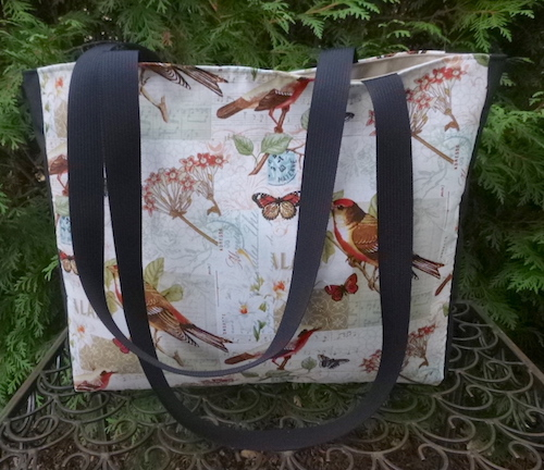 bird tote bag with long handles
