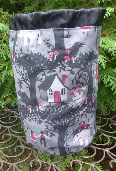 fairy tale black forest round drawstring bag