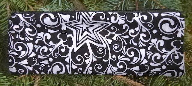 black white stars pencil case