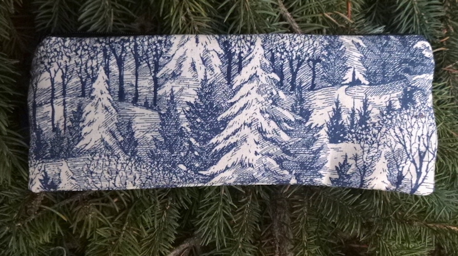 forest pencil case blue trees
