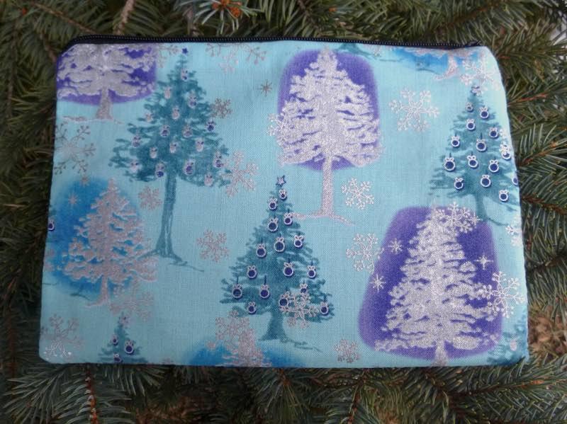 Blue and silver Christmas trees reusable gift bag
