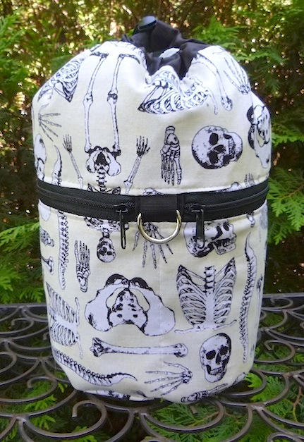 skeleton knitting project bag