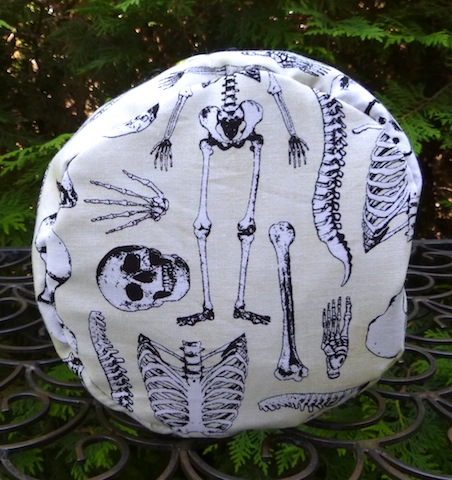 round knitting project bag with skeletons