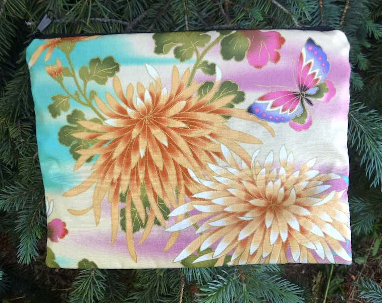 Japanese butterflies and mums mahjong card and coin purse