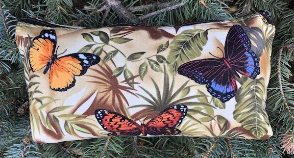 butterflies flat bottom bag for makeup, craft supplies